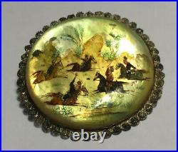 Antique Chinese Shell Brooch w Silver Rim Hand Paint Men Riding Horses 1800s
