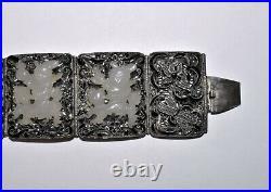 Antique Chinese Silver Filigree Enamel Carved White Jade Boy on Chilong Bracelet