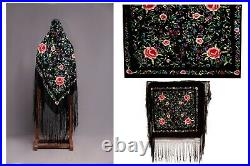Antique Chinese Vintage Manton De Manila Hand Embroidered Silk Roses Piano Shawl