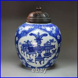 Antique Chinese blue and white cracked ice ginger jar, Kangxi 1662-17