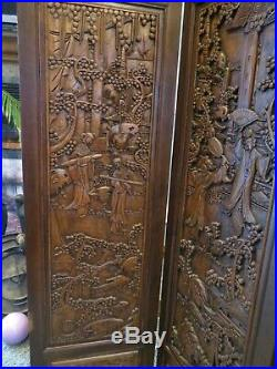 Antique Hand Carved Wooden Room Divider/Privacy Screen Vintage Asian Oriental 3D