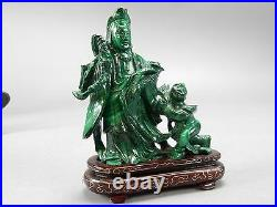 Antique Intricately Carved Chinese Malachite Stone Kwan Yin Statue with Base 4.5