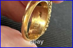 Antique Nouveau 18k Solid Yellow Gold Chinese Green Jade Saddle Ring