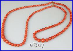 Antique Rare Chinese Red Coral Necklace Beads Gold 18k Clasp Lock 19th