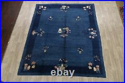 Antique Transitional Art Deco Chinese Oriental Area Rug Pictorial Handmade 8x10