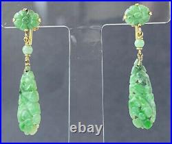 Antique Victorian Chinese Export 14K Gold & Jade Jadeite Drop Dangle Earrings