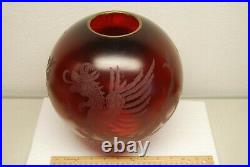 Antique Victorian Gwtw Ruby Red Old Glass Chinese Japanese Dragon Oil Lamp Shade