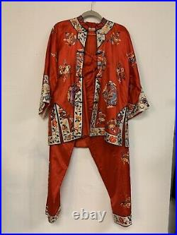 Antique Vintage 1940s Silk Embroidered Chinese Pajama Set with frog closures