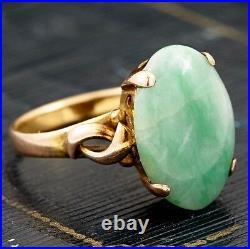 Antique Vintage Art Deco 14k Gold Chinese Apple Jade Jadeite 5 Cts Ring! Sz 6.5