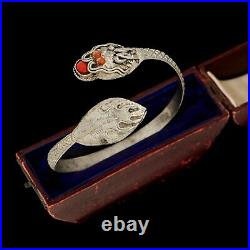 Antique Vintage Art Deco Sterling 900 Silver Chinese Dragon Coral Cuff Bracelet