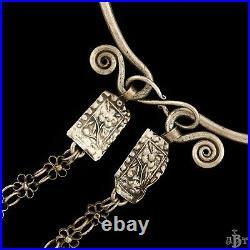 Antique Vintage Art Deco Sterling Silver Chinese Tibetan Wedding Collar Necklace