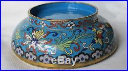 Antique Vintage Chinese Cloisonne Enamel Covered Bowl Beauty RARE