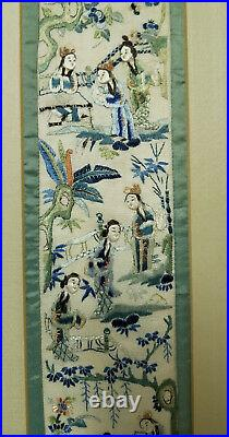 Antique Vintage Chinese Embroidered Silk Robe Panel Sleeve Embroidery