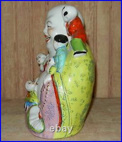Antique Vintage Chinese Porcelain Happy Laughing Buddha With Children Statue
