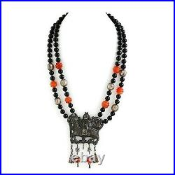 Antique Vintage Deco Sterling Silver Chinese Coral Qilin Kylin Rider Necklace