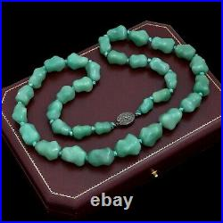 Antique Vintage Deco Sterling Silver Chinese Green Turquoise Bead Necklace 129g