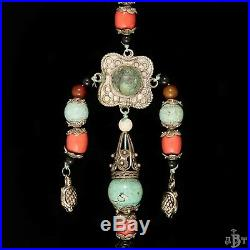 Antique Vintage Deco Sterling Silver Chinese Tibetan Turquoise Coral Necklace