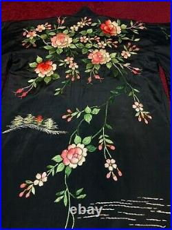 Antique Vintage Japanese Embroidered Silk Kimono Chinese Robe Embroidery #3