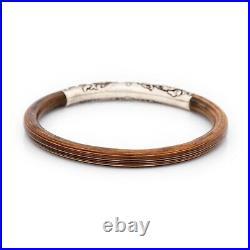 Antique Vintage Nouveau Sterling Silver Chinese Rattan Wood Bangle Bracelet 8.2g