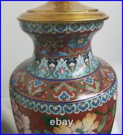 Antique Vintage Pair Chinese Cloisonne Lamps Lighting Decorative Floral Landscap