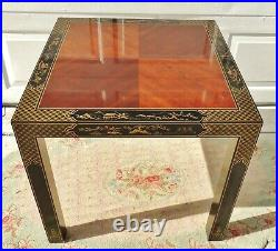 Antique/Vtg Chinoiserie Black Lacquer Inlaid Wood Gold Stenciled Side/End Table