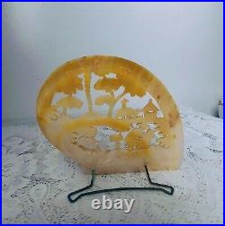 Antique Vtg Hand Carved Mother of Pearl Chinese Shell Statue Stand