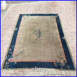 Antique chinese art deco rug, some Ware, blue, Pink, green 8ft 2in x 12ft. 7in