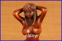 Antique chinese old boxwood belle art girl statue figure netsuke tool gift