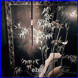 Antique vintage chinese screen from the mid 20th century hand painted lacquer