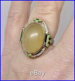 Art Deco 14K White Gold 17mm x 12.5mm Chinese Jade Enamel Filigree Antique Ring