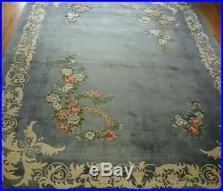 Art Deco Chinese Oriental Rug 120 Lines Hand-Knotted Wool 9' x 12' Antique Blue