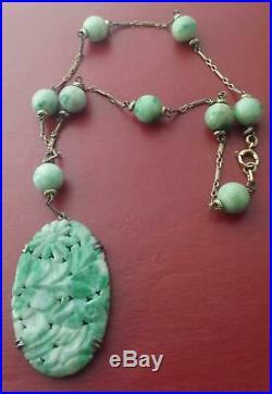 Art Nouveau Antique Chinese Curved Jade Pendant & Beads Lavaliere Necklace 15 L
