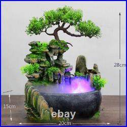 Atomizing Rockery Water Fountain Desktop Chinese Fengshui LED Lamp Waterfall