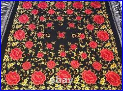 BEAUTIFUL VINTAGE 1930's CHINESE EMBROIDERED SILK PIANO SHAWL EMBROIDERY #6