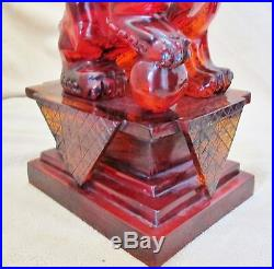 BIG 16 Pair of Vintage Chinese Faux Cherry Amber Resin Foo Dogs on Wood Stands