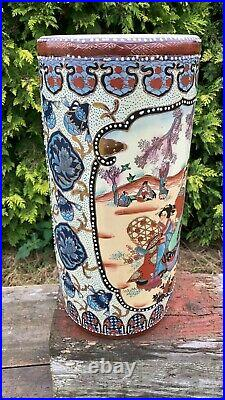 Beautiful Vintage Chinese Oriental Decorative Pottery Tall Umbrella Stand
