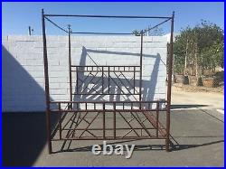 Bed Canopy Chinese Chippendale Bamboo Headboard Chinoiserie Vintage Peacock Boho