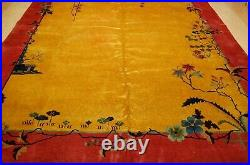 C1920s ANTIQUE MINT ART DECO CHINESE NICHOLS RUG 9x11.8 ROOM SIZE ONE OF A KIND