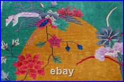 C1920s ANTIQUE MINT ART DECO CHINESE WALTER NICHOLS RUG 3x4.9 NATURAL VEGY DYE