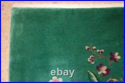 C1920s ANTIQUE MINT ART DECO WALTER NICHOLS CHINESE RUG 3x4.8 VEGETABLE DYE