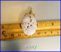 Carved Natural Jadeite Pendant (Tested) White/Lavender, Antique Chinese, 10.67g