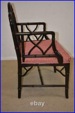Century Furniture Chinese Chippendale Black Laquered Bamboo Side Chair