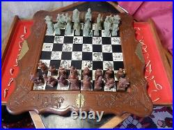 Chess Set Jade Genuine Hand Carved Antique Vintage Complete Collectors Rare
