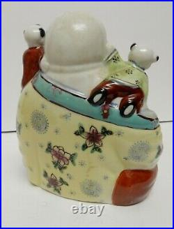 Chinese Asian Laughing Happy Buddha With Climbing Children Porcelain Vintage