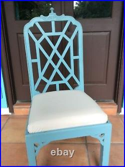 Chinese Chippendale Chinoiserie Pagoda Aqua/Turquoise Dining Chairs Set Of 10