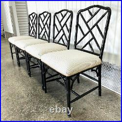 Chinese Chippendale Faux Bamboo Dinning Chairs Vintage Set Of 4