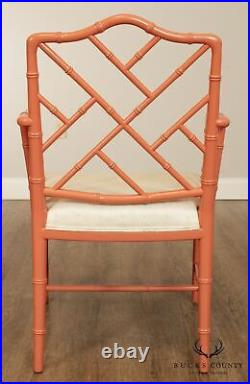 Chinese Chippendale Hollywood Regency Style Vintage Lacquer Painted Armchair