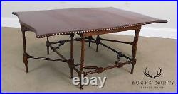 Chinese Chippendale Vintage Faux Bamboo Gateleg Drop Leaf Mahogany Coffee Table
