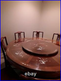 Chinese Dining Table 72 Vintage Hand Carved Rosewood, Mother Of Pearl decoration