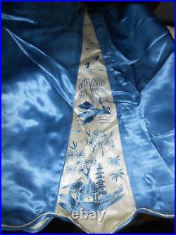 Chinese Embroidered Silk Charmeuse Beach Pajamas Bellbottom 1930s 3 Piece Set